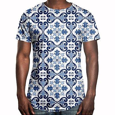 Camiseta Masculina Longline Swag Azulejo Português Estampa Digital