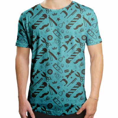Camiseta Masculina Longline Swag Barbearia Shop Estampa Digital