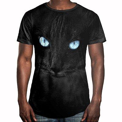 Camiseta Masculina Longline Swag Big Face Gato Negro Estampa Digital