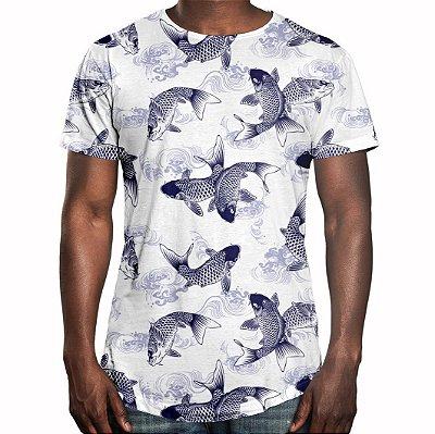 Camiseta Masculina Longline Swag Carpas Japonesas Estampa Digital