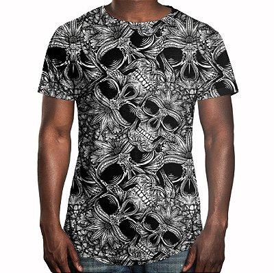 Camiseta Masculina Longline Swag Caveiras Estampa Digital