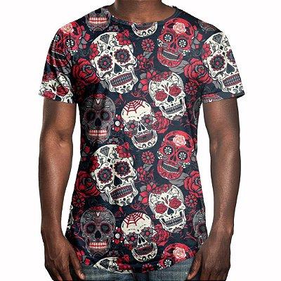 Camiseta Masculina Longline Swag Caveiras Mexicanas Estampa Digital