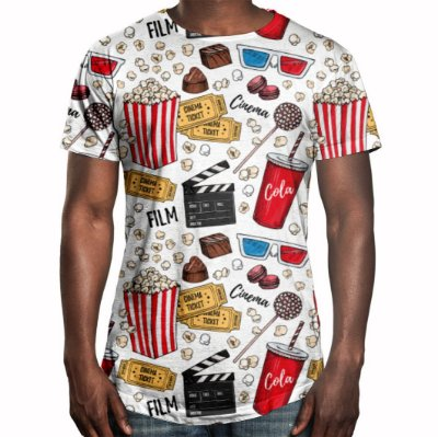 Camiseta Masculina Longline Swag Cinema Estampa Digital