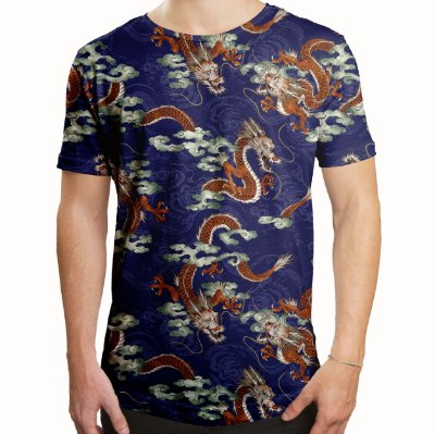 Camiseta Masculina Longline Swag Dragão Chinês Estampa Digital