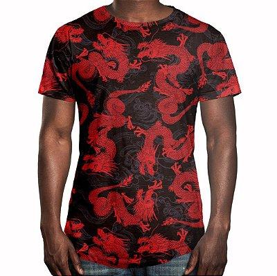 Camiseta Masculina Longline Swag Dragão Chinês Vermelho Estampa Digital
