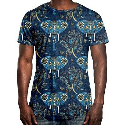 Camiseta Masculina Longline Swag Elefante Indiano Estampa Digital