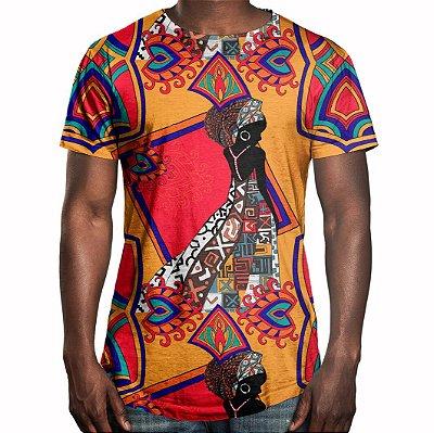 Camiseta Masculina Longline Swag Estampa Africana Estampa Digital