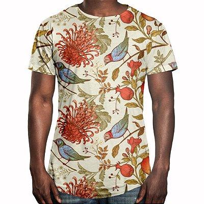 Camiseta Masculina Longline Swag Flor Crisântemo Estampa Digital