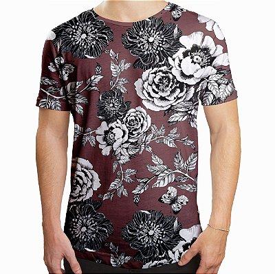 Camiseta Masculina Longline Swag Flor da Ameixeira Marrom Estampa Digital