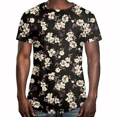 Camiseta Masculina Longline Swag Flor de Cerejeira Estampa Digital