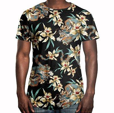 Camiseta Masculina Longline Swag Flor e Dragão Chinês Estampa Digital