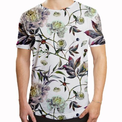 Camiseta Masculina Longline Swag Floral Aquarela Estampa Digital