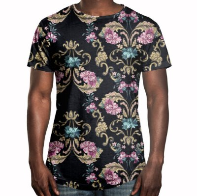 Camiseta Masculina Longline Swag Floral Barroco Estampa Digital