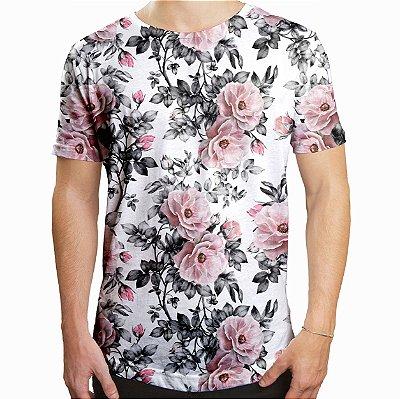 Camiseta Masculina Longline Swag Floral e Folhas Estampa Digital