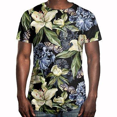 Camiseta Masculina Longline Swag Floral Iris e Borboletas Estampa Digital