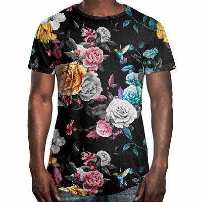 Camiseta Masculina Longline Swag Floral Jardim e Beija-flor Estampa Digital