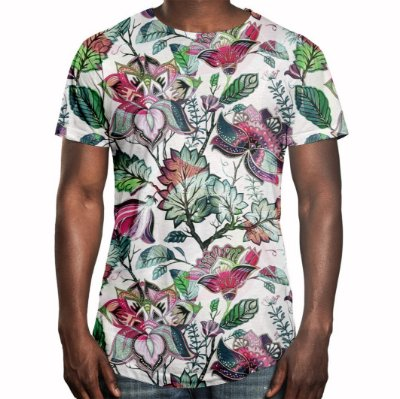 Camiseta Masculina Longline Swag Floral Jardim Russo Estampa Digital