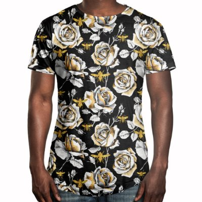 Camiseta Masculina Longline Swag Floral Rosas e Abelhas Estampa Digital