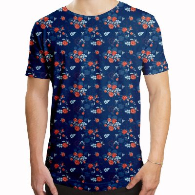 Camiseta Masculina Longline Swag Floral Rosas no Dark Blue Estampa Digital