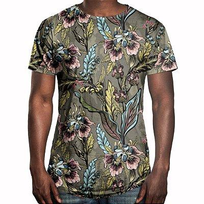 Camiseta Masculina Longline Swag Flores e Folhas Estampa Digital