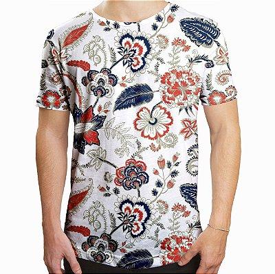 Camiseta Masculina Longline Swag Floral Ilustração Estampa Digital