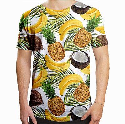 Camiseta Masculina Longline Swag Frutas Estampa Digital