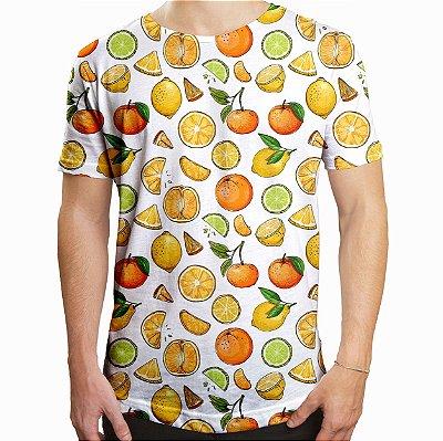Camiseta Masculina Longline Swag Frutas Cítricas Estampa Digital