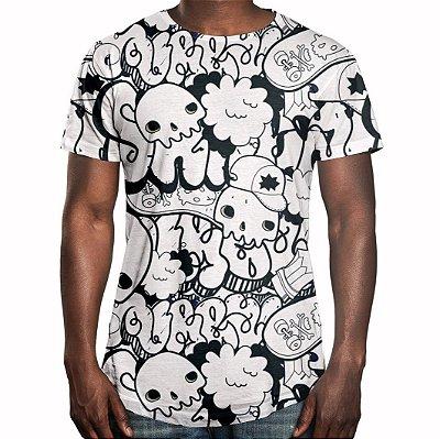Camiseta Masculina Longline Swag Grafite Caveiras Estampa Digital