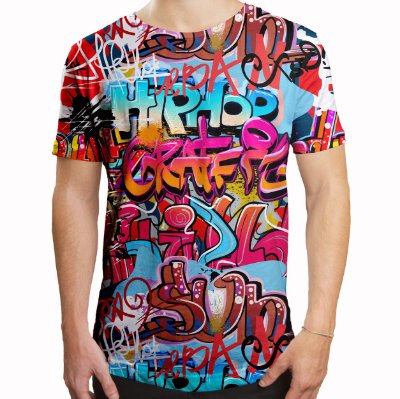 Camiseta Masculina Longline Swag Grafite Hip Hop Grafiti Estampa Digital