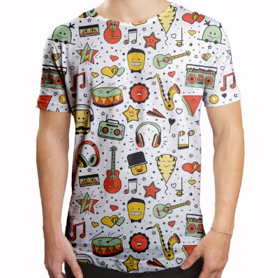 Camiseta Masculina Longline Swag Instrumentos Musicais Estampa Digital