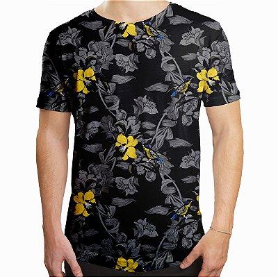 Camiseta Masculina Longline Swag Jardim com Pássaros Estampa Digital