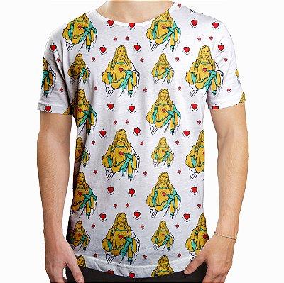 Camiseta Masculina Longline Swag Jesus Cristo Estampa Digital