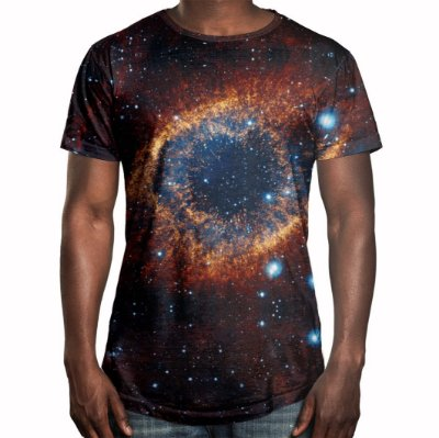 Camiseta Masculina Longline Swag Olho do Universo Estampa Digital