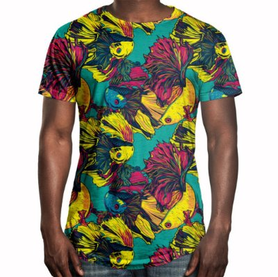 Camiseta Masculina Longline Swag Peixes Beta Estampa Digital