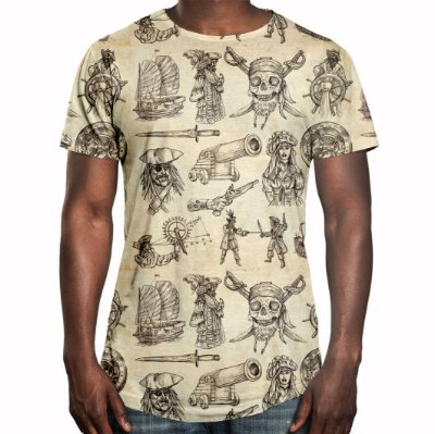 Camiseta Masculina Longline Swag Piratas Estampa Digital