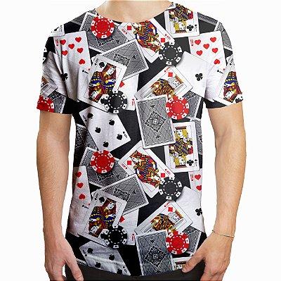 Camiseta Masculina Longline Swag Poker Baralho e Fichas Estampa Digital