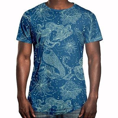 Camiseta Masculina Longline Swag Sereia e Plantas Marinhas Estampa Digital