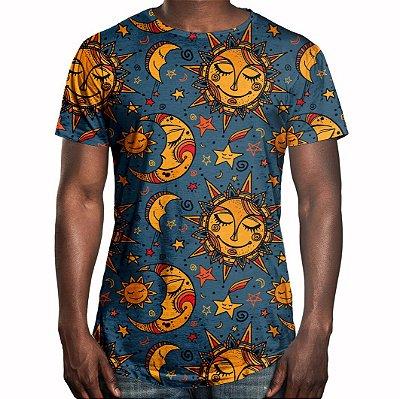 Camiseta Masculina Longline Swag Sol e Lua Estampa Digital