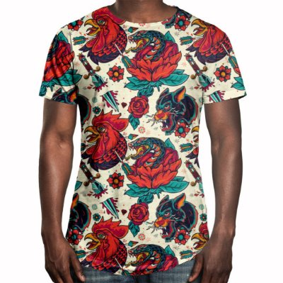 Camiseta Masculina Longline Swag Tatuagens Animais Estampa Digital