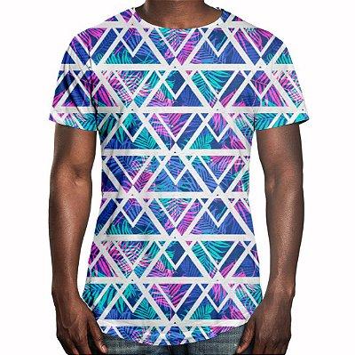 Camiseta Masculina Longline Swag Tecno Geométrico Estampa Digital