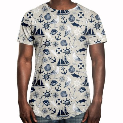 Camiseta Masculina Longline Swag Tema Marinho Estampa Digital