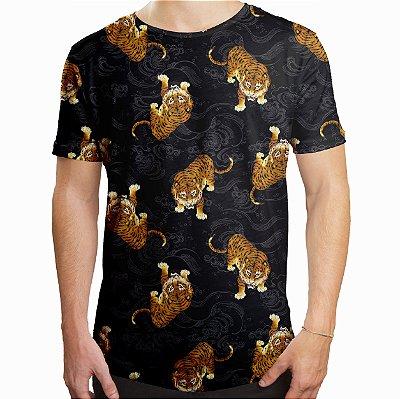 Camiseta Masculina Longline Swag Tigre Japonês Estampa Digital