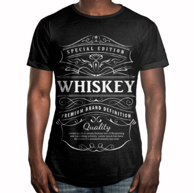 Camiseta Masculina Longline Swag Whiskey Uísque Estampa Digital