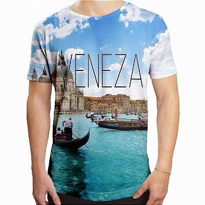 Camiseta Masculina Longline Swag Veneza Estampa Digital