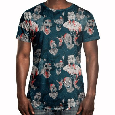 Camiseta Masculina Longline Swag Zumbis Estampa Digital