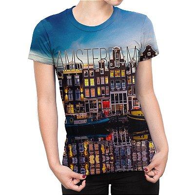 Camiseta Baby Look Feminina Amsterdam Estampa Total