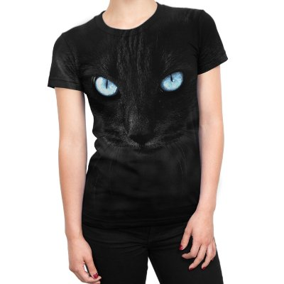 Camiseta Baby Look Feminina Big Face Gato Preto Estampa Total