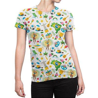 Camiseta Baby Look Feminina Brasil Temas Brasileiros Estampa Total