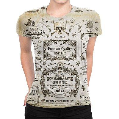 Camiseta Baby Look Feminina Caligrafia Old Shool Estampa Total