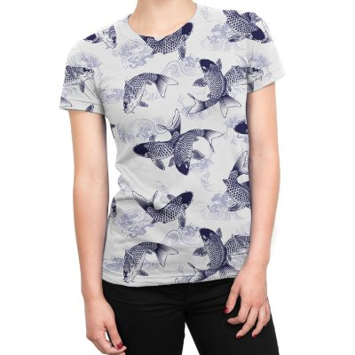 Camiseta Baby Look Feminina Carpas Japonesas Estampa Total